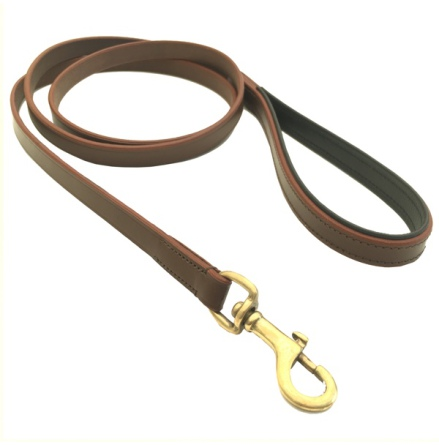 Chelsea Leather Leash Flat Brass - Brown/Black