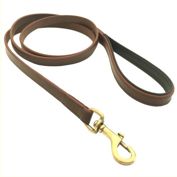 Chelsea Leather Leash Flat Brass - Brown/Black