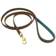 Madison Leather Leash Flat Brass - Brown/Turquoise