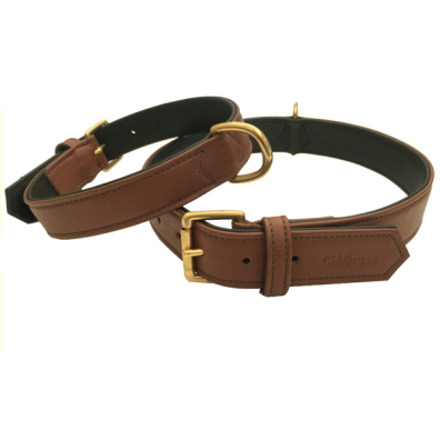Carmel Leather Collar Brass - Brown/Black
