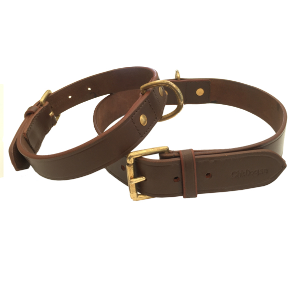 Chelsea Leather Collar Brass - Brown