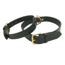 Chelsea Leather Collar Brass - Black