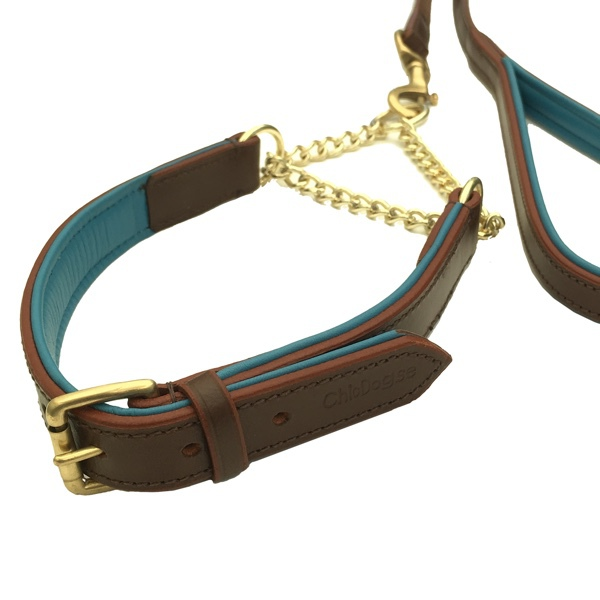 Madison Leather Collar Brass Halfcheck - Brown/Turquoise