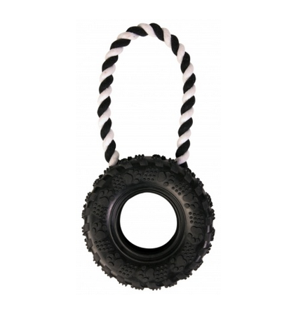 Tire on Rope Dog Toy Natural Rubber - L:31cm