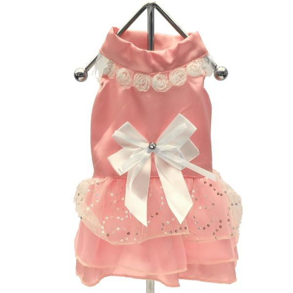 Pink Princess satin Dress w white bow