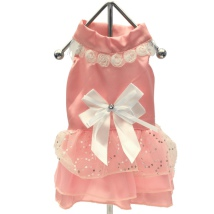 Pink Princess satin Dress w white bow