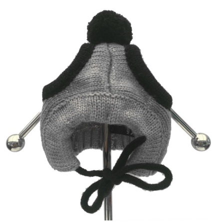 Panda Cap - Grey - Knitted Parts around the Head