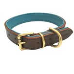 Madison Leather Collar Brass - Brown/Turquoise