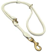 Round Ajustable Leash Brass Buckle - White