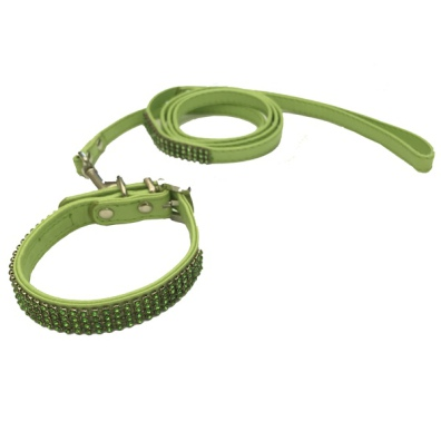 Collar/Leash Set w Crystals - Green L:22-27cm Tot:30cm