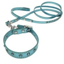 Collar/Leash Set crystals blue