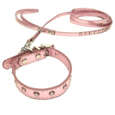 Collar/Leash Set crystals pink L:20-25cm Tot:28cm