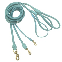 Round Leash w Brass Buckle - Baby Blue