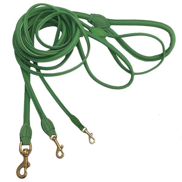 Round Leash w Brass Buckle - Green