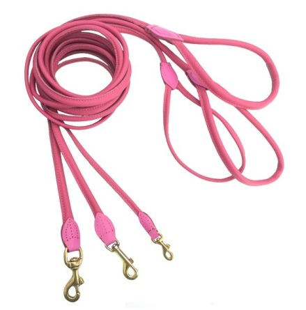 Round Leash w Brass Buckle - Dark Pink