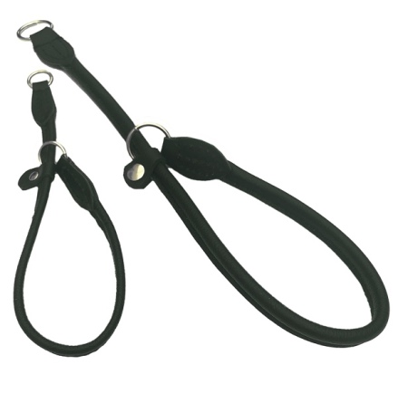 Half check adjust. Leather Collar - Black