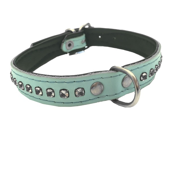 Leather Collar with Rhinestones - Baby blue