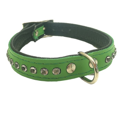 Leather Collar with Rhinestones - Green