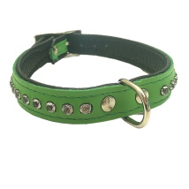 Leather Collar with Rhinestones - Green