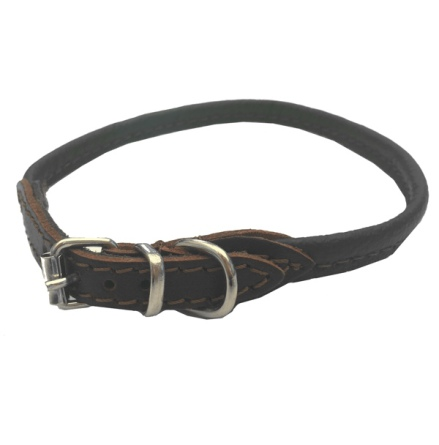 Round Leather Collar - Brown