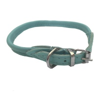 Round Leather Collar - Baby Blue