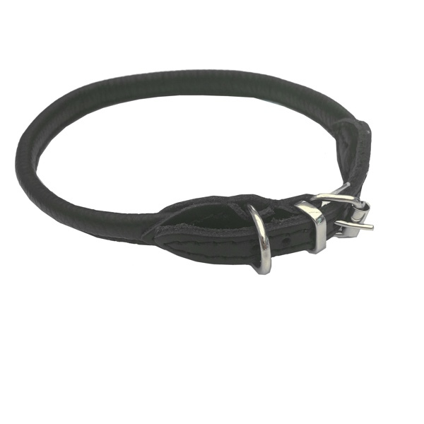 Round Leather Collar - Black