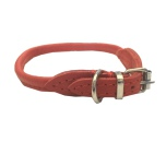 Round Leather Collar - Red