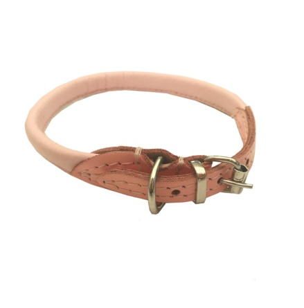 Round Leather Collar - Baby Pink