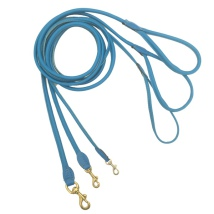 Round Leash w Brass Buckle - Blue