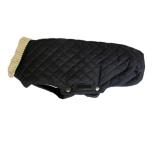 Trenton Light Quilted Coat w Beige Collar - Black