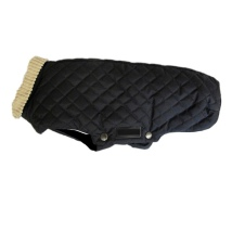 Trenton Light Quilted Coat w Beige Collar - Black