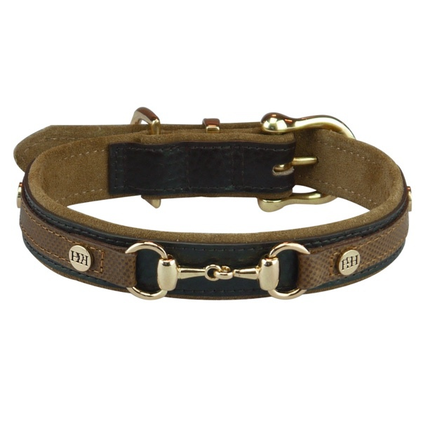 Elrita Leather Collar w Brass Details and Chain - Brown