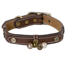 Darlington Leather Collar w Brass Details and Beads - Brown L:18-24 Tot:32cm