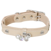 Darlington Leather Collar w Brass Details and Beads - Beige