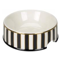 Porcelain Bowl w Stripes - Black/White/Gold