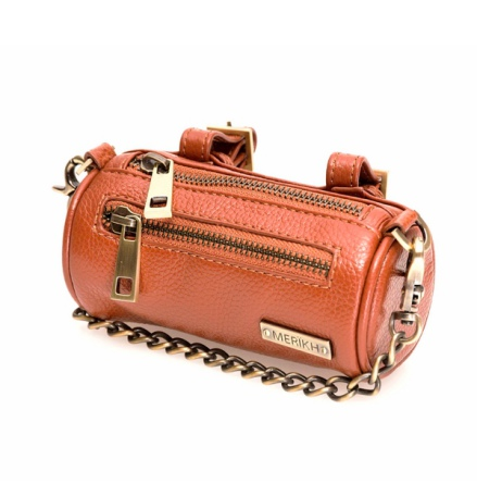 Real leather Poo Bag Holder w Brass Details - Cognac