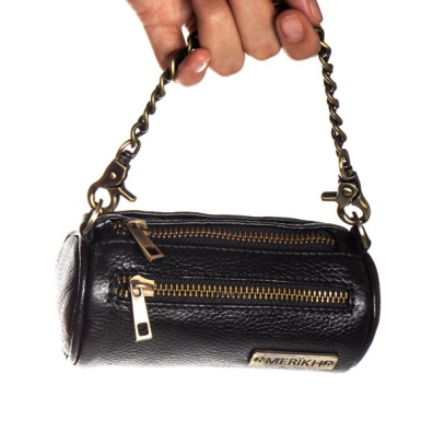 Real leather Poo Bag Holder w Brass Details - Black