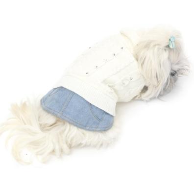 Elsy Sweater w Jean Skirt - White