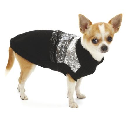 Shiny Sequin Sweater - Black/Grey