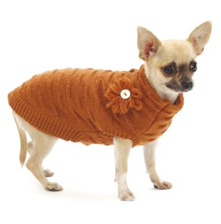 Flora Sweater w Flower - Terracotta
