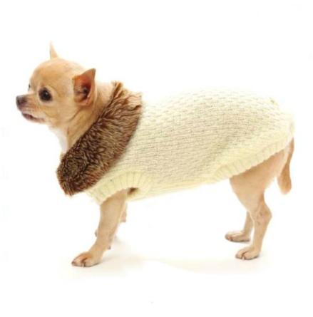 Winterland Sweater w Fur Collar - Beige