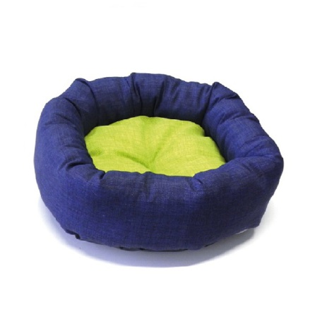 Soft Bed w Reversible Cushion Round - Blue/Green