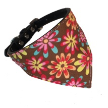 Bandana w Black Collar - Brown/Flowers