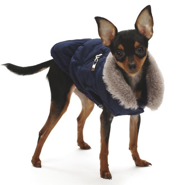 Padded Coat w Soft Fleece Inside and Fur Collar - Navy