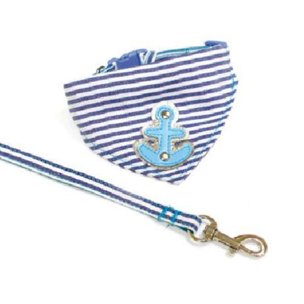 Marine Set Bandana & Leash Adjustable - Blue