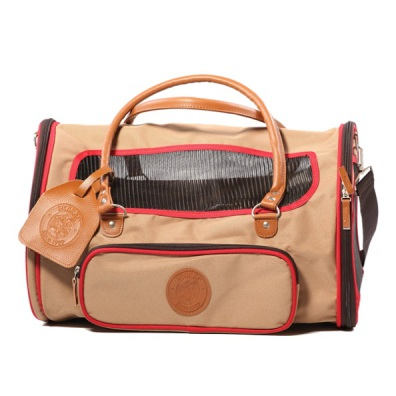 Delux Canvas Travel Bag - Beige w Red Brim