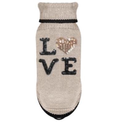Sweater Cute Love w Sequin Heart - Beige