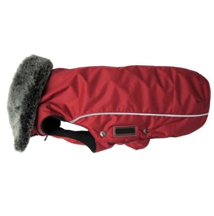 Narvik Fleece Coat Fur Collar - Red