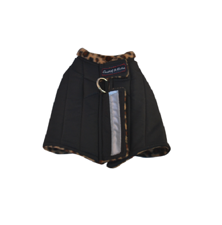 Harness Vest w Leopard Fleece Lining - Black