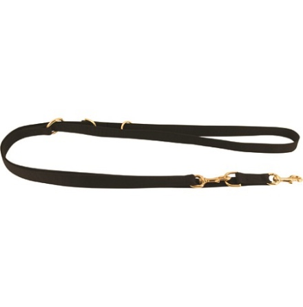 Adjustable Nylon Leash w Brass Details - Black